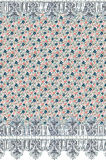 Ditsy floral wallpaper. Retro vintange liberty ditsy floral with a delicate lace edging wallpaper border design Royalty Free Stock Photos