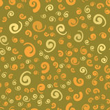 Print with curly elements on green background. Ditsy-like print retro fashion mass market textile. Print with curly elements on green background Royalty Free Stock Photos