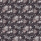 Ditsy seamless floral pattern with fairy birds, hearts, leaves and petals in grey, brown, black and white colors. Print for fabric. Paper, wallpaper, wrapping royalty free illustration