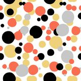 Ditsy vector polka dot pattern with random hand painted circles in white, black, coral red, silver, gold colors. Seamless texture in vintage 1960s fashion vector illustration