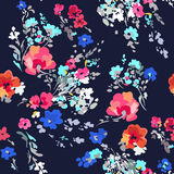 Ditsy watercolor style floral print - seamless background Stock Image