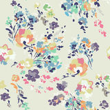 Ditsy watercolor style floral print - seamless background Stock Photos