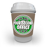 Ditt andra kafé för kontorskaffekoppen shoppar den bort mobila produkten för arbete stock illustrationer