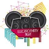 ditt för högtalare för designelementsymbol stads- Electro partidesign som stylized swirlvektorn för bakgrund det dekorativa diagr stock illustrationer