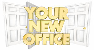 Ditt nya kontor många dörrar uttrycker illustrationen 3d royaltyfri illustrationer