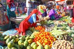 DIU, ÍNDIA - 7 DE JANEIRO DE 2014: Um mercado colorido do alimento na ilha de Diu Imagens de Stock