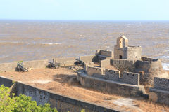 Diu fort gujarat india. Ancient fort facing the sea with cannons pointing seawards Stock Photos