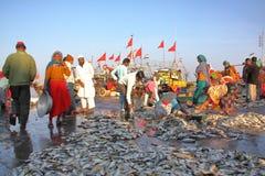 DIU, INDIA - JANUARI 8, 2014: Vanakbara Vissershaven in Diu-Eiland royalty-vrije stock fotografie