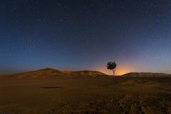 Diuny w ergu Chebbi w Maroko przy nocą z niebem pełno gwiazdy zdjęcia royalty free