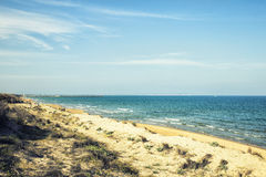 Diuny w Guardamar plaży, Alicante, Hiszpania Zdjęcia Stock