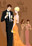 Diva. Beautiful women and men in evening wear Royalty Free Stock Images