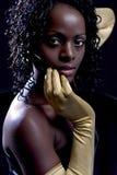 Diva, de vrouw met gouden handschoenen royalty-vrije stock foto's