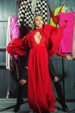 Diva in dress in wardrobe Royalty Free Stock Photos