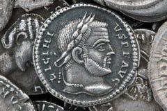 Diva Faustina roman coin. Roman silver coin, denarius of Roman emperor Royalty Free Stock Photos