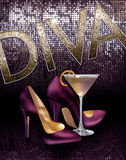 Diva Girls About Town Cocktail Heels Background. Glittery sparkle Diva girl out on the town with cocktails and heels! Very very Sex and the City inspired stock illustration
