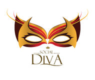 Diva Logo with Masquerade Glasses stock illustration