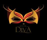 Diva Logo met Maskeradeglazen vector illustratie