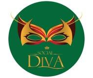 Diva Logo met Maskeradeglazen stock illustratie