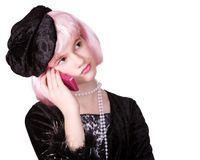 Diva on the Phone. Preteen diva with pink hair listening on a hot pink phone.  Isolated on white Stock Images