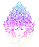 Diva tribale de Boho de fusion Belle fille divine asiatique avec fleuri Images libres de droits