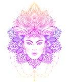 Diva tribale de Boho de fusion Belle fille divine asiatique avec fleuri Photos libres de droits