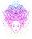 Diva tribale de Boho de fusion Belle fille divine asiatique avec fleuri Photographie stock