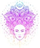 Diva tribale de Boho de fusion Belle fille divine asiatique avec fleuri Photo stock