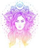 Diva tribale de Boho de fusion Belle fille divine asiatique avec fleuri Images stock