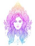 Diva tribale de Boho de fusion Belle fille divine asiatique avec fleuri Image stock