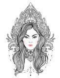 Diva tribale de Boho de fusion Belle fille divine avec la couronne fleurie Photos stock