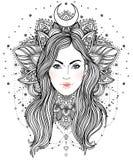 Diva tribale de Boho de fusion Belle fille divine avec la couronne fleurie Images stock