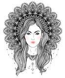 Diva tribale de Boho de fusion Belle fille divine avec la couronne fleurie Image stock