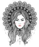 Diva tribale de Boho de fusion Belle fille divine avec la couronne fleurie Photos libres de droits