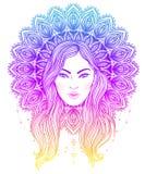 Diva tribale de Boho de fusion Belle fille divine avec le manda fleuri Photo libre de droits