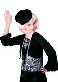 Diva Wave. Preteen diva with pink hair waving to viewer stock images