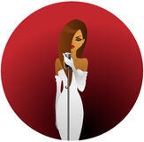 Diva in white. Beautiful brunette in elegant white dress holding a microphone Royalty Free Stock Photos