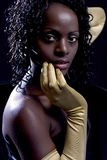 Diva, The woman with golden gloves Royalty Free Stock Photos