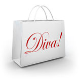 Diva Word Shopping Bag Spoiled Fashion Princess Royalty Free Stock Photos