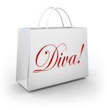 Diva Word Shopping Bag Spoiled-Manierprinses royalty-vrije illustratie