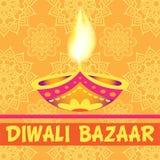 Divali bazaar background. Tradirional hindu festival of lights. Template of card, banner design stock illustration