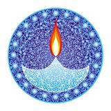 Divali Festival of Lights. Candles on a openwork background, mandala. India. Vector graphics vector illustration