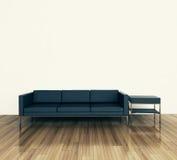 Divan et table intérieurs modernes minimaux Image libre de droits