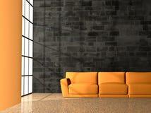 Divan orange et et mur sale Images libres de droits