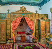 The divan room. KAIROUAN, TUNISIA - AUGUST 30, 2015: The luxury arabic interior of divan room in Governors mansion, on August 30 in Kairouan Stock Images