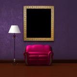 Divan rose et lampadaire avec le cadre de tableau illustration libre de droits