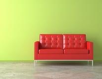 Divan rouge sur le mur vert illustration libre de droits