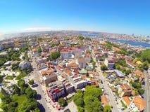 Divanyolu and Yerebatan Streets. Aerial Istanbul. Divanyolu and Yerebatan Streets. Goldenhorn in the distance Royalty Free Stock Images