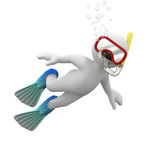 Dive. 3d human with swimming equipment underwater diving Stock Images