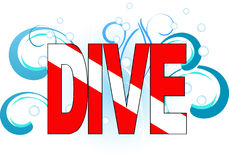 Dive. Flag with waves vector illustration Royalty Free Stock Photos