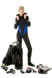 Before dive. Woman checking her dive gear Royalty Free Stock Image
